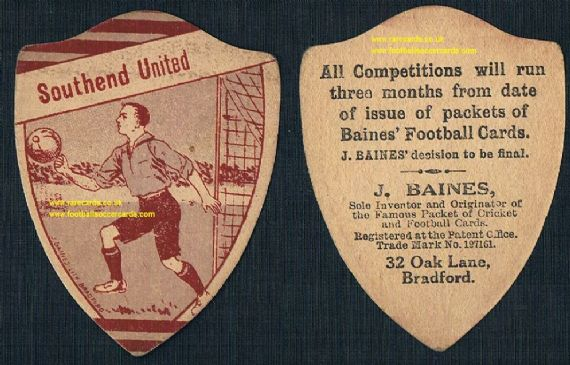 1st ever Southend United card? Shrimpers Baines shield-shaped football card